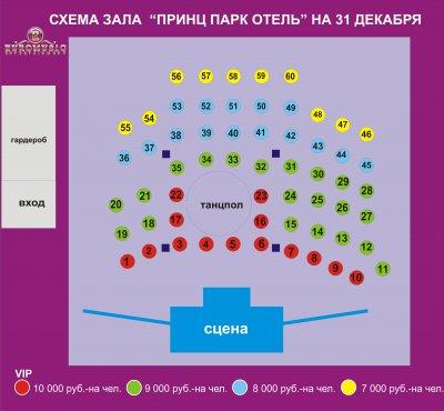 Схема зала ГЦКЗ РОССИЯ
